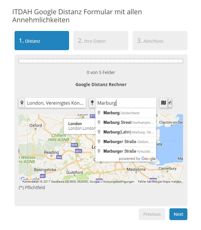Google Map Distance Form Mailer Distanz Messung