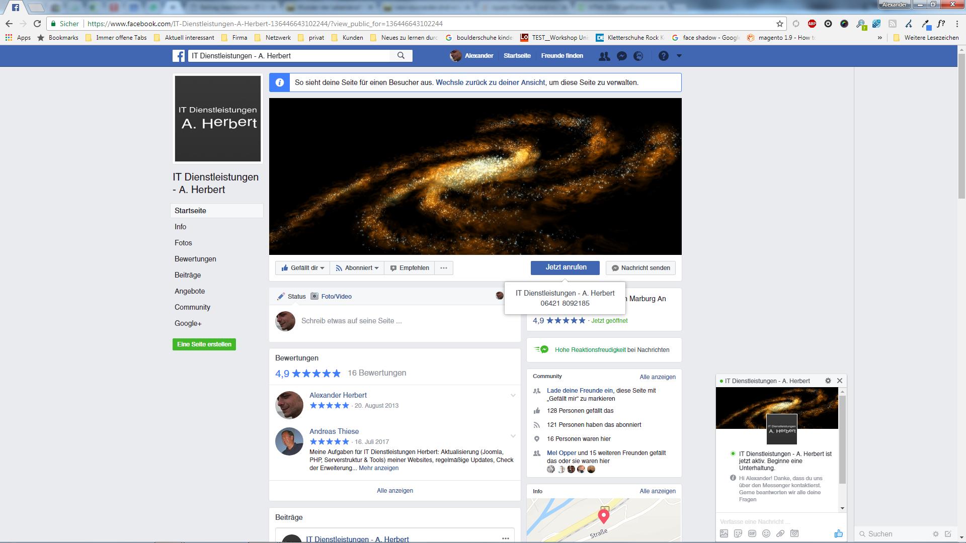 Facebook Seite automatische Begrüßung