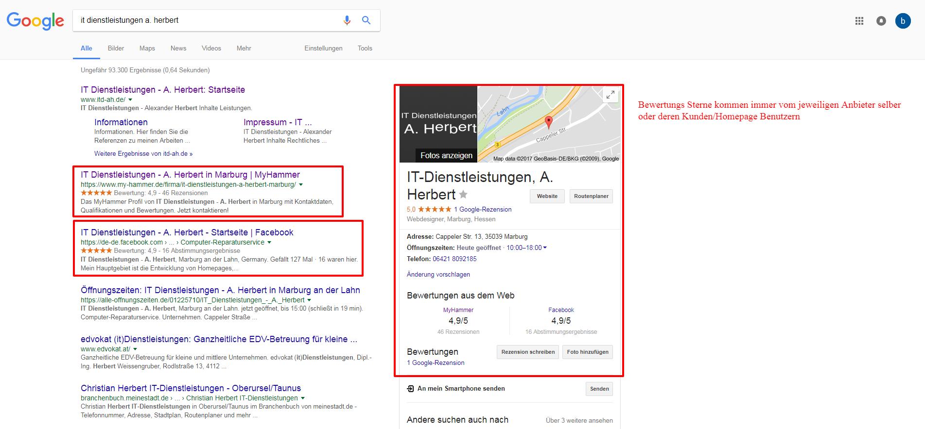 IT Dienstleistungen - A. Herbert - Sterne in Suchergebnissen